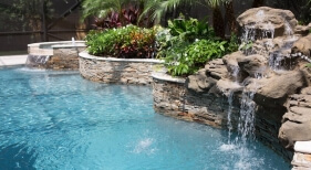 007 - Raised Landscape Wall and Waterfall