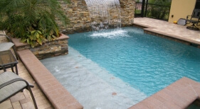 012 - Geometric Pool with Sunshelf and Raised Sheer Descent