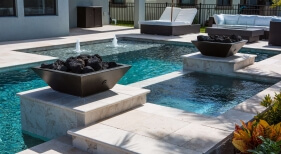 016 - Geometric Pool and Spa with Fire Bowls and Bubblers