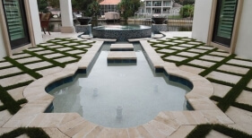 428 - Custom Water Feature and Raised Spa