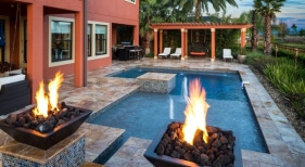 5001 - Geometric Pool with Sunshelf and Fire Bowls