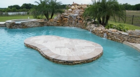 032 - Freeform Island Pool with Raised Spa and Waterfall