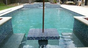 045 - Geometric Pool with Table and Benches