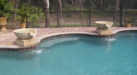 049 - Freeform Pool with Bench and Water Bowls