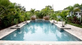 002 - Classic Pools with Raised Spa and Planters
