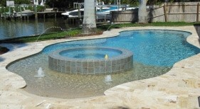 0300 - Freeform Beach Entry Pool with Raised Spa