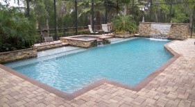 007 - Classic Pool and Raised Spa with Sunshelf and Sheer Descent Wall