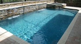 008 - Classic Pool with Raised Spa and Sheer Descent Wall