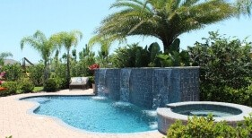 012 - Freeform Pool with Raised Spa and Sheer Descent Wall