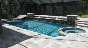 013 - Classic Pool and Spa with Raised Bubblers and Scuppers