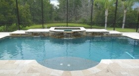 014 - Classic Pool with Sunshelf and Raised Spa