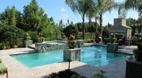 026 - Classic Pool with Raised Scuppers, Planters, and Spa
