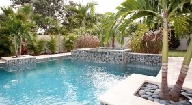 031 - Classic Pool with Raised Spillover Spa and Planters