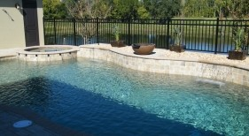 060 - Freeform Pool with Spa Scuppers, Sheer Descents and Water Bowl