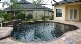 087 - Covered Freeform Pool with Tiered Sheer Descents