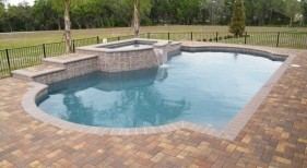 096 - Classic Pool with Raised Spillover Spa