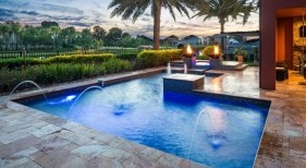 1001 - Classic Pool and Spa with Fire Bowls, Deck Jets, and LED Lighting