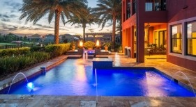 1002 - Classic Pool and Spa with Fire Bowls, Deck Jets, and LED Lighting
