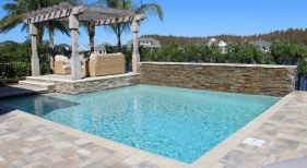 1004 - Classic Pool with Raised Wall and Covered Outdoor Living Area