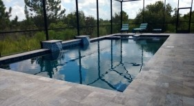 1009 - Classic Pool and Leveled Spa with Raised Sheer Descents