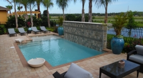 1011 - Classic Sunshelf Pool with Water Bowls and Raised Wall