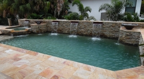 1020 - Classic Pool and Spa with Raised Scuppers and Water Bowls
