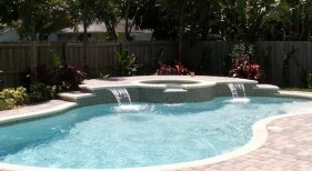 106 - Freeform Pool with Raised Spa and Sheer Descents