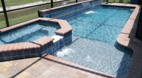 132 - Classic Sunshelf Pool with Raised Spa and Sheer Descent