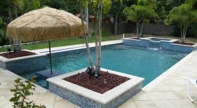 150 - Classic Pool with Raised Spa, Planters, and Table and Benches