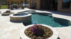195 - Freeform Pool with Raised Spa and Planters