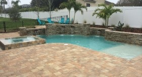 258 - Freeform Sunshelf Pool with Raised Wall and Spa