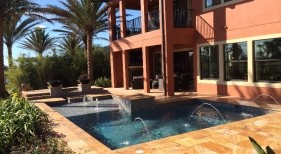 265 - Classic Sunshelf Pool with Deck Jets and Fire Bowls