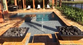 267 - Classic Sunshelf Pool with Bubblers and Fire Bowls