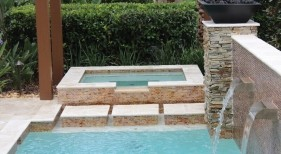 289 - Raised Square Spa with Stepping Stones