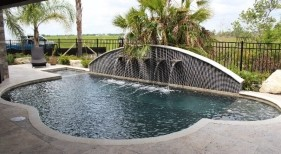 292 - Freeform Pool with Custom Raised Scupper Wall