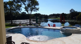 425 - Freeform Pool with Raised Spa and Sunshelf with Fountain
