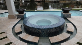 429 - Raised Round Spa with Fire Bowls