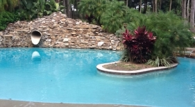 439 - Freeform Pool with Rock Wall Slide and Island
